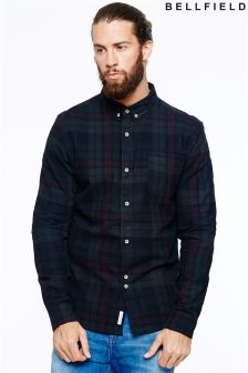 Bellfield Mens Overdye Flannel Check Shirt