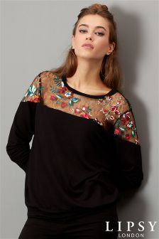 Lipsy Embroidered Lace Yoke Sweatshirt
