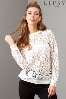 Lipsy All Over Lace Sweatshirt