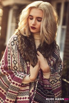 Alice Hannah Fairisle Fur-Collar Cape