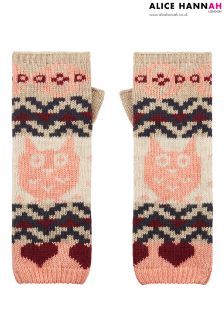 Alice Hannah Owl Jacquard Arm Warmers