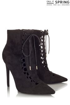 Call It Spring Ladies Lace Up Pointed Toe Boots