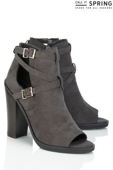 Call It Spring Buckle Detail Peep Toe Boots