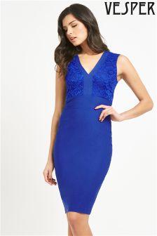Vesper Sleeveless Lace Bust Midi Dress