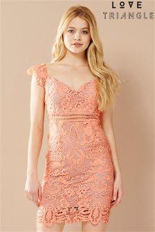 Love Triangle Lace Bardot Dress