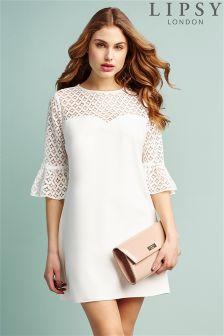 Lipsy Geometric Lace Sleeve Shift Dress