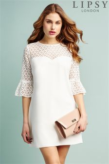 Lipsy Geometric Lace Sleeve Shift Dress