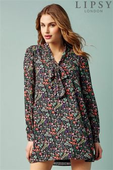 Lipsy Floral Tie Neck Tunic Dress