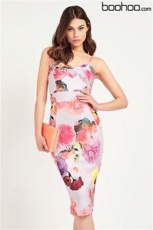 Boohoo Strappy Floral Midi Dress