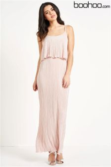 Boohoo Pleated Double Layer Dress