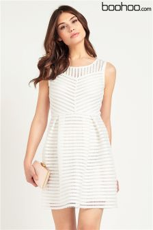 Boohoo Textured Panelled Skater Dress