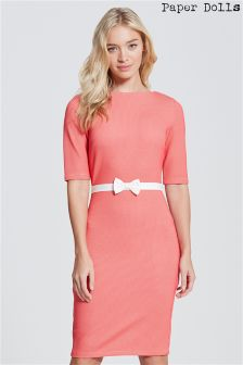 Paper Dolls Waffle Bow Waist Bodycon Dress