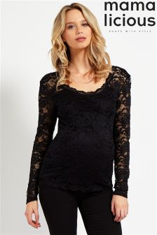 Mamalicious  Maternity Long Sleeve Lace Top