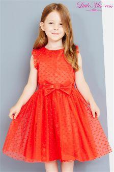 Little Misdress Spot Mesh Dress With Bow
