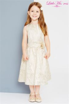 Little Misdress Jacquard Dress With Flower