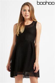 Boohoo Textured Panelled Skater Dress