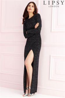 Lipsy Glitter Cowl Back Maxi Dress