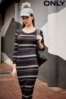 Only Long Sleeve Striped Midi Dress