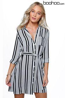 Boohoo Stripe Tie Waist Shirt Dress