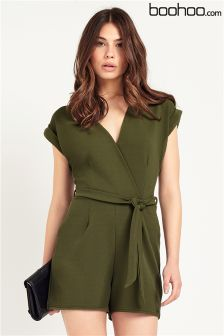 Boohoo Wrap Front Playsuit
