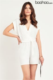 Boohoo White Wrap Front Playsuit