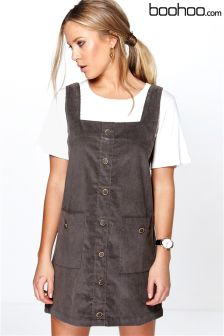Boohoo Pocket Pinafore Dress