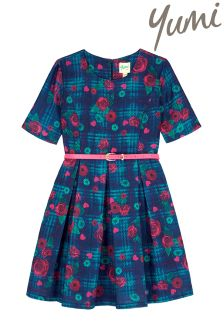 Yumi Girl Floral Check Box Pleated Dress