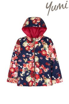 Yumi Girl Oil Painted Floral Puffa Coat