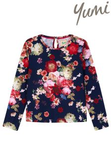 Yumi Girl Oil Painted Floral Top