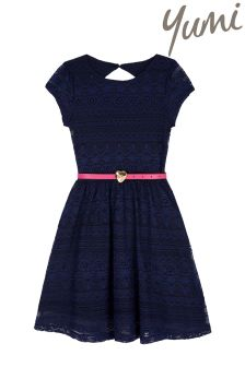 Yumi Girl Lace Belted Dress