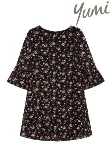 Yumi Girl Floral Printed Lace Funnel Sleeve Dress