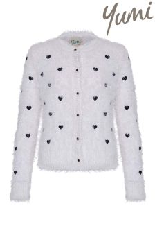 Yumi Girl Heart Embroidered Eyelash Cardigan