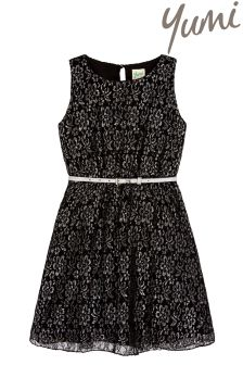 Yumi Girl Metallic Lace Dress With Sparkly Belt