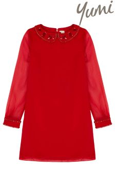 Yumi Girl Embellished Collar Shift Dress