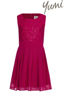 Yumi Girl Sequin Sash Pleated Dress