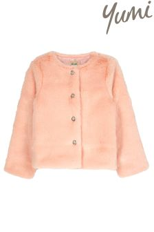 Yumi Girl Jewel Button Fur Coat