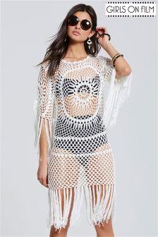 Girls On Film Fringed Crochet Dress