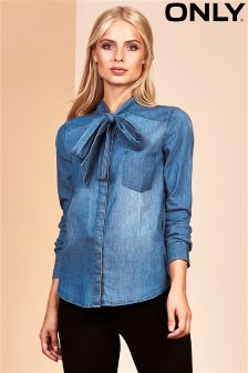 Only Denim Bow Neck Blouse