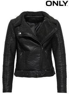 Only Bonded Faux Leather Biker Jacket