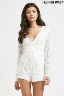 Fashion Union Lace Playsuit