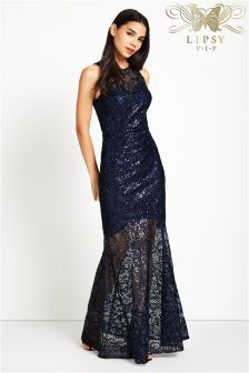 Lipsy VIP All Over Sequin Fishtail Maxi Dress