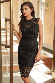 Lipsy VIP Embroidered Lace Midi Dress