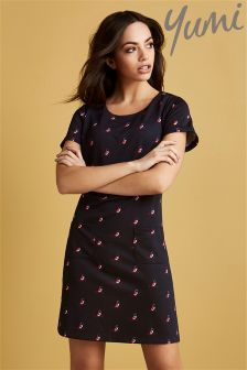 Yumi Cherry Owl Printed Tunic Dress