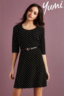 Yumi Spot Print Skater Dress