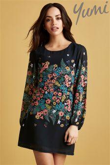 Yumi Botanical Print Tunic Dress