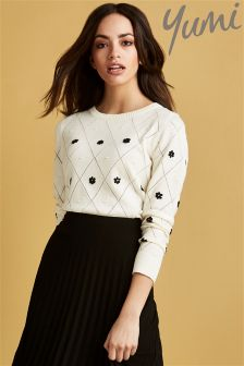 Yumi Embroidered Flowers Jumper