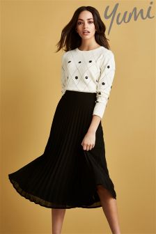 Yumi Pleated Midi Skirt