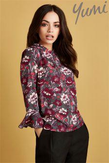 Yumi Floral Printed Mandarin Collar Blouse
