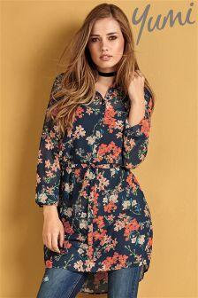 Yumi Belted Blossom Print Tunic Shirt Dress