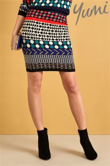 Yumi Jacquard Pattern Knitted Skirt